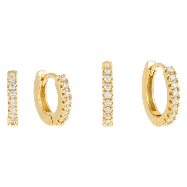 CZ Mini Huggie Earring Combo Set