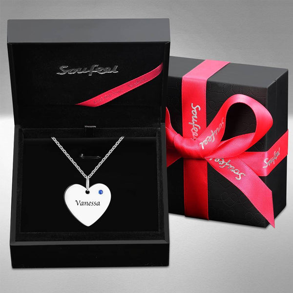 Heart Tag Personalized Birthstone Necklace With Engraving Silver