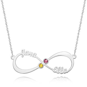 Custom Personality Name Necklace with Birthstone Infinity Necklace 14K Gold Plated