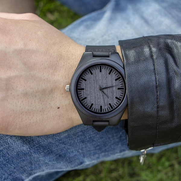 To My Son - From Dad -Leather Wooden Watch