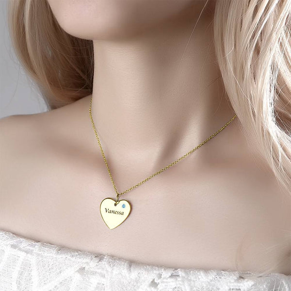 Heart Tag Personalized Birthstone Necklace With Engraving 14k Gold Plated Silver