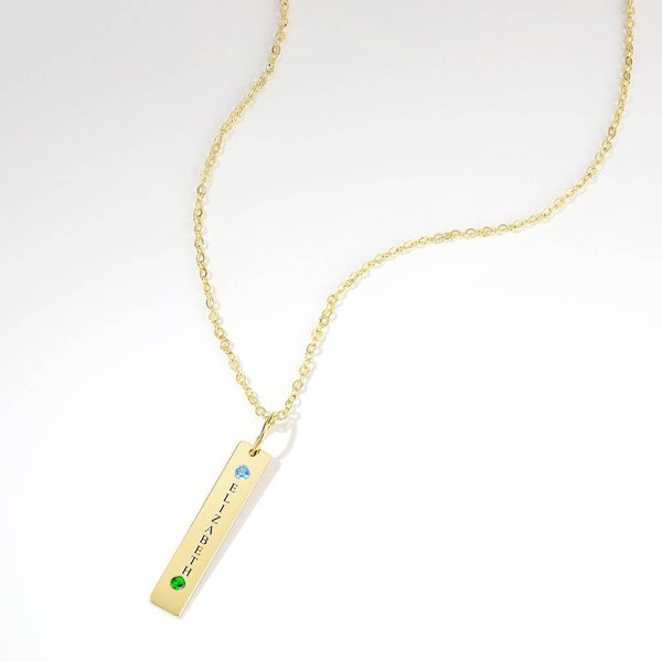 Personalized Birthstone Vertical Bar Necklace With Engraving 14k Gold Plated Silver