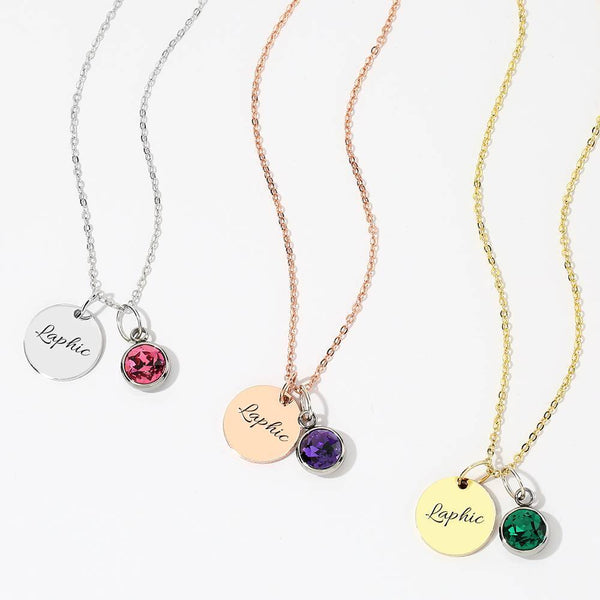 Personalized Birthstone Coin Tag Initial Necklace With Engraving 14 Gold Plated Silver