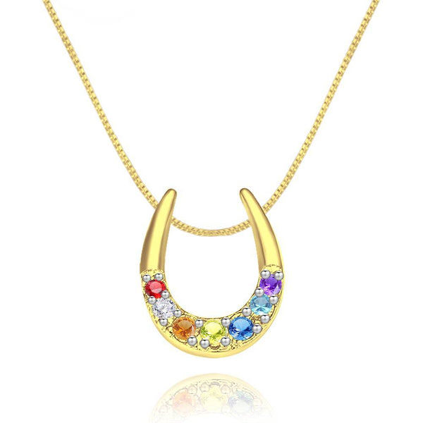 Exquisite Rainbow Horseshoe Necklace Silver Plated