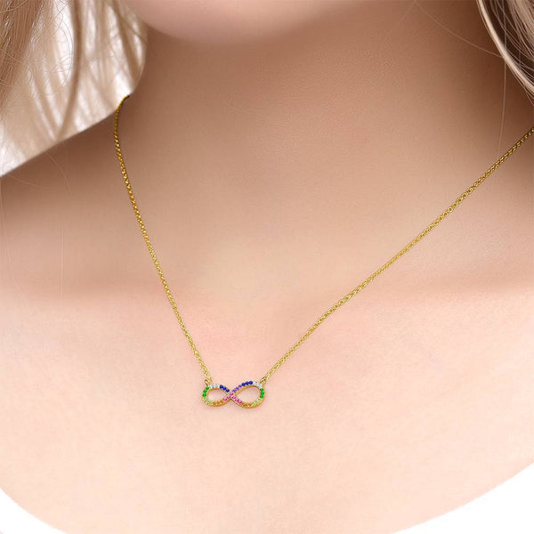 Personalized Exquisite Sparkling Infinity Necklace Copper in 14K Gold For Girlfriend
