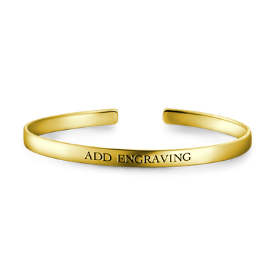 14K Gold Plated Engravable Cuff Bangle -  Love Name Necklace