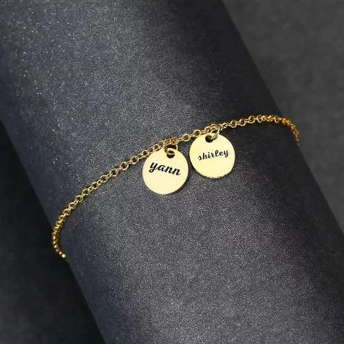 Custom Disc Engraved Anklet 14k Gold