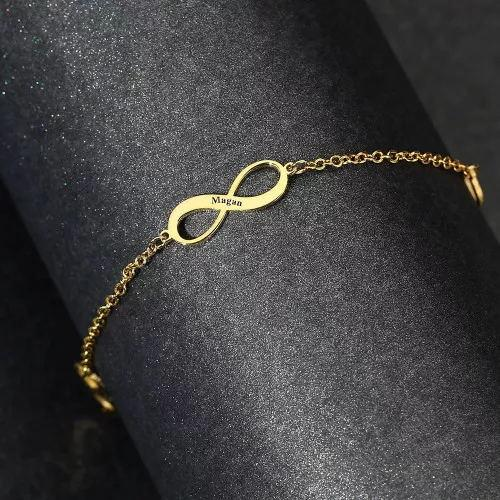 Custom Engraved Infinity Name 14k Gold Plated