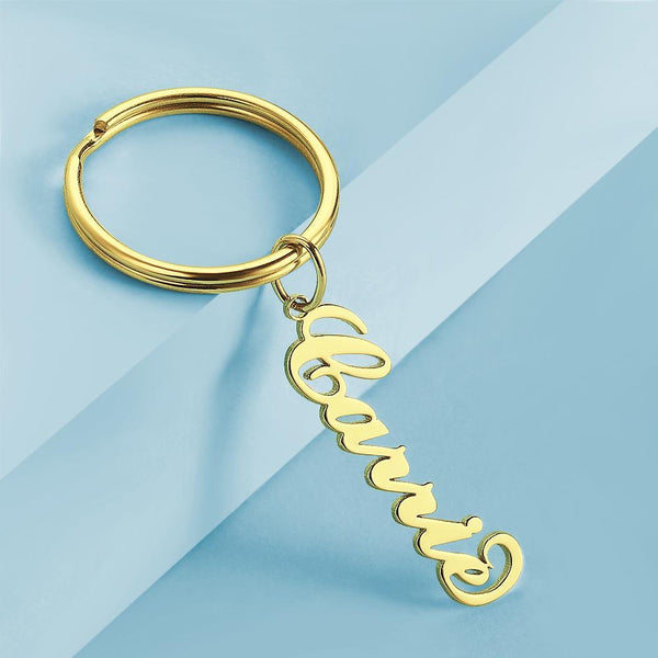 Custom Name Keychain Anti-lost Keyring Gold Plated