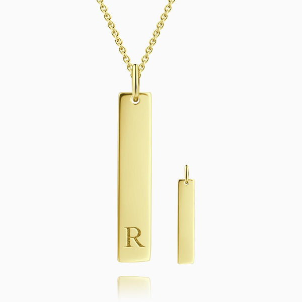 Vertical Initial Bar Necklace With Engraving 14k Gold Plated Silver