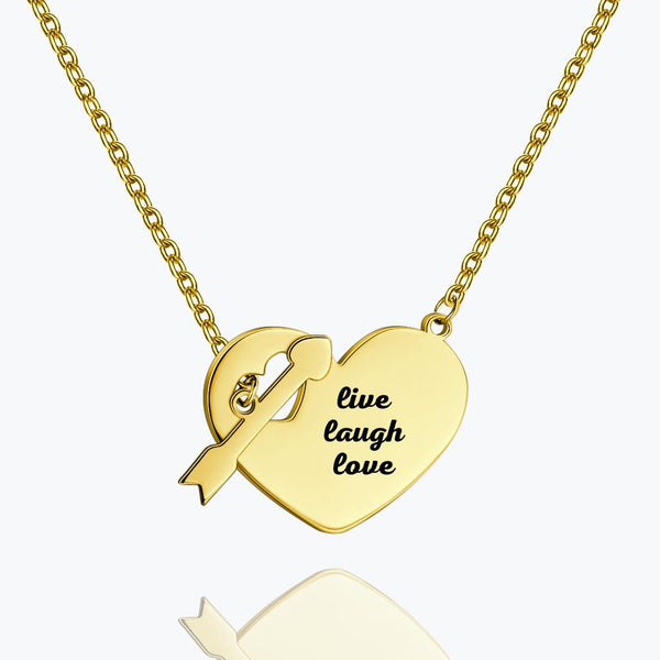 Engraved Hang Tag Necklace 14k Gold Plated Silver