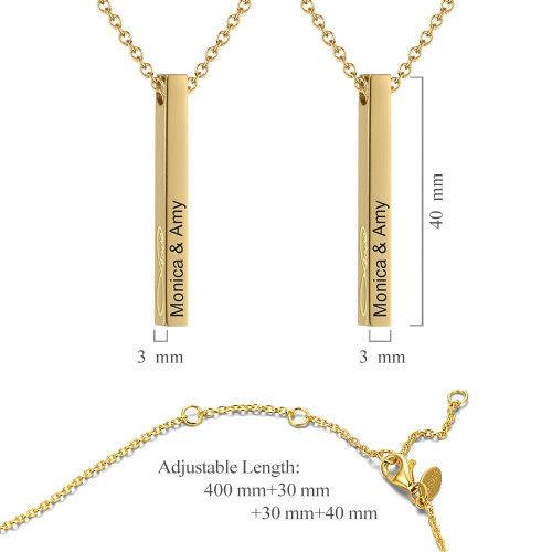 Vertical 3D Bar Necklace with Engraving 14k Gold