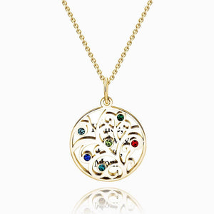 Filigree Family Tree Birthstone Necklace With Engraving 14k Gold Plated Silver