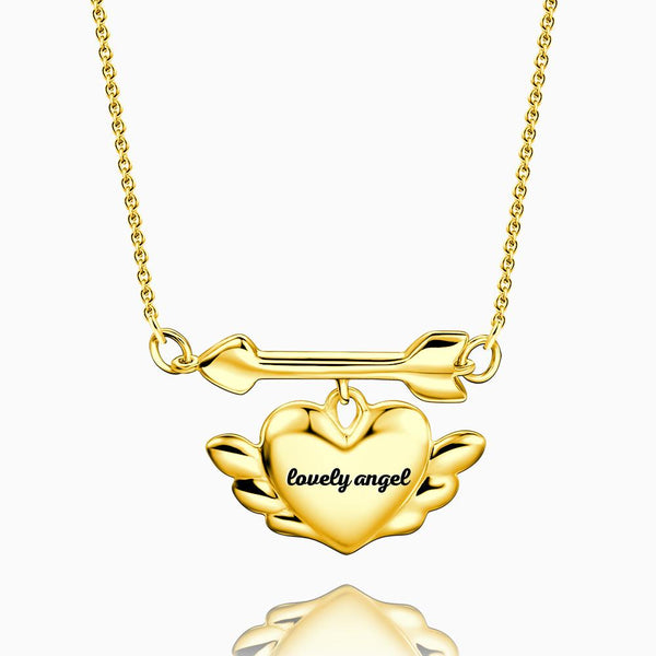 Engraved Cupid's Heart Necklace 14k Gold Plated Silver