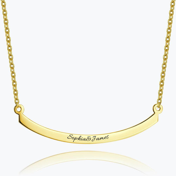 Engraved Bar Necklace 14k Gold Plated Silver