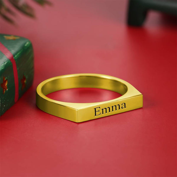 Personality Engraved Name Ring 14K Gold Plated Elegant Gift - Silver