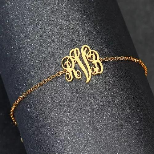 Custom Monogram Letter Anklet 14k Gold Plated