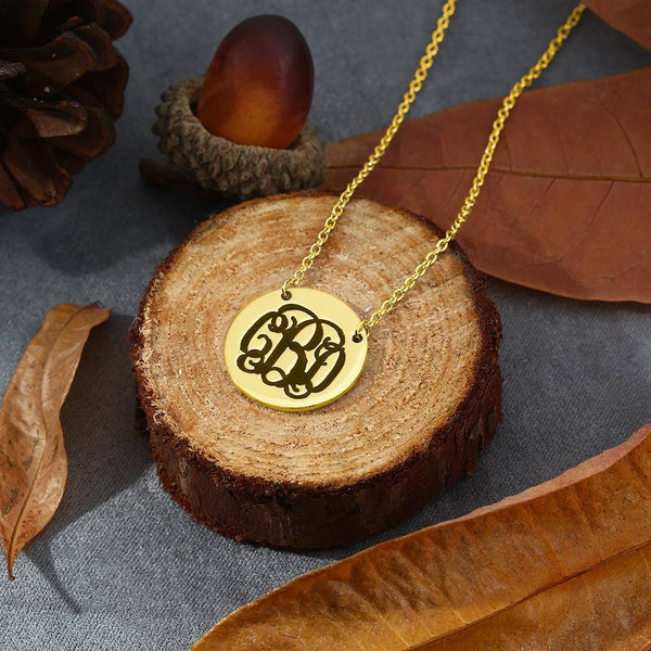 Engraved Monogram Necklace 14k Gold Plated Silver