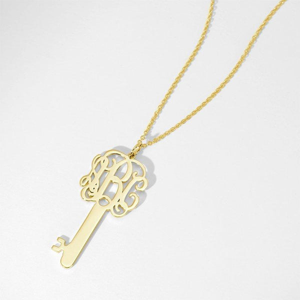 Key Monogram Necklace Gold Plated Silver