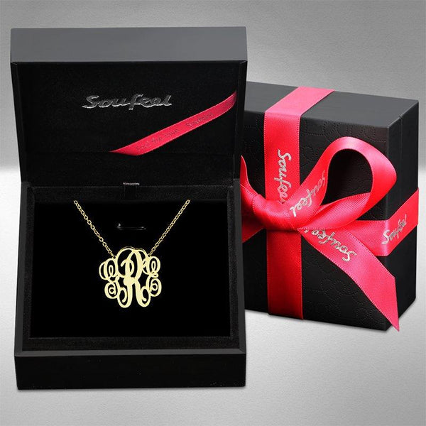 Fancy Monogram Necklace Gold Plated Silver