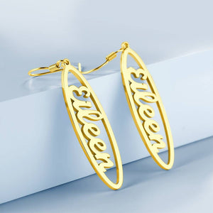 Personalized Oval Shape Name Earrings 14K Gold Plated