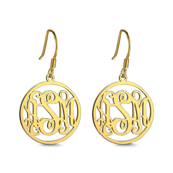 Personalized Monogram Earrings 14K Gold Plated