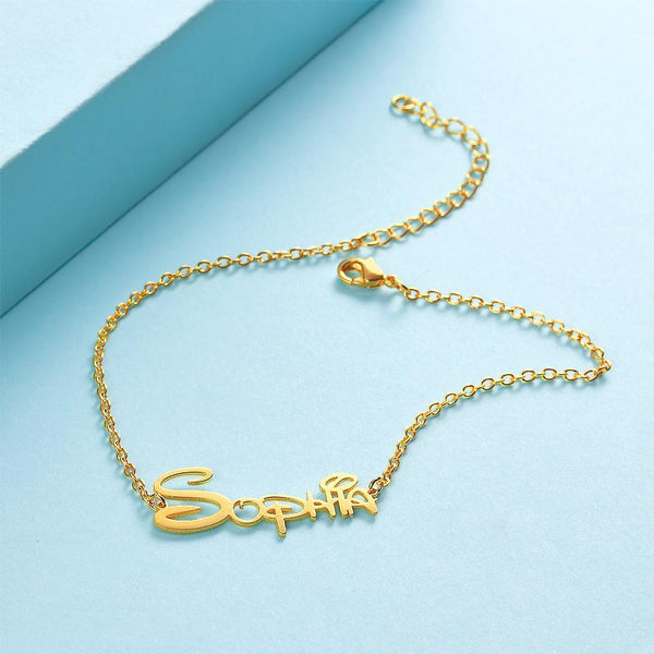 Custom Disney Name Anklet Gold Plated Delicate Gift