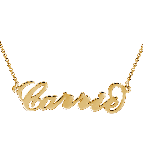 Carrie Style Name Necklace 14K Gold Plated -  Love Name Necklace