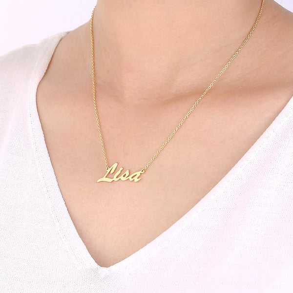 Custom Name Necklace 14K Gold Plated -  Love Name Necklace