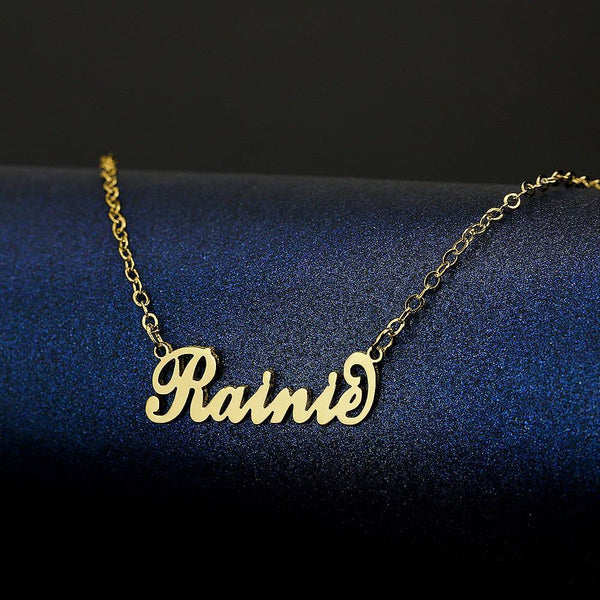 "Personalized Children's ""Carrie"" Style Name Necklace, Classical Style 14K Gold Plated - Silver"
