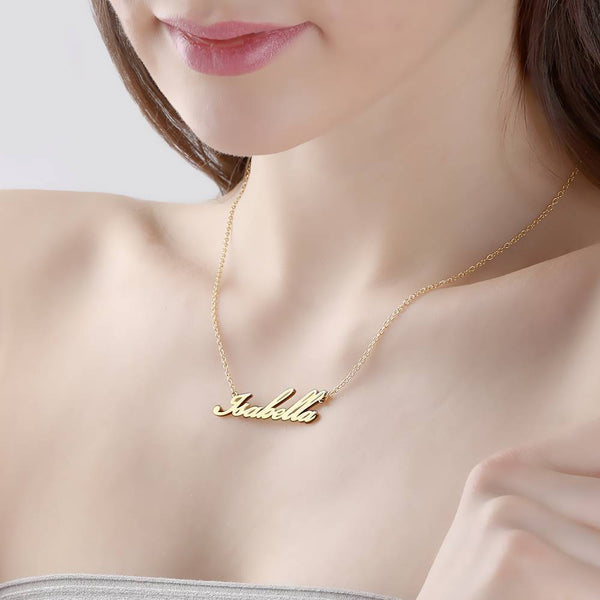 Personalized Name Necklace 14k Gold Plated Silver