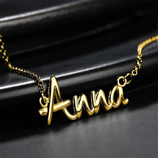 Personalized Name Necklace Gift for Her 14K Plated Gold Silver