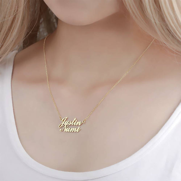 Name Necklace Personality Two Names Classic Style 14K Gold Plated - Silver