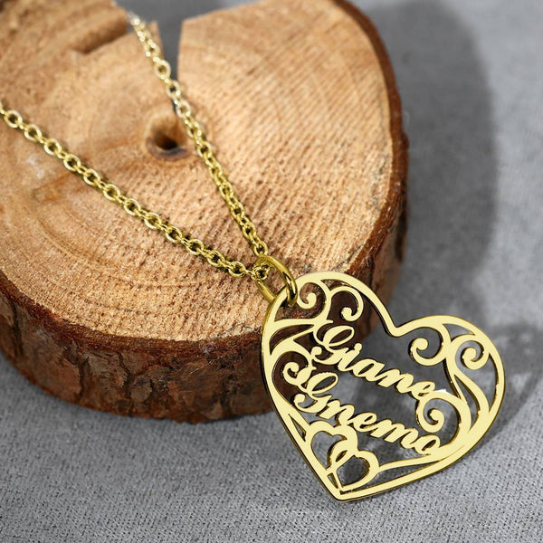 Filigree Heart Two Name Necklace 14k Gold Plated Silver