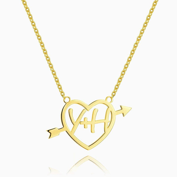 Cupid's Arrow Name Necklace 14k Gold Plated Silver