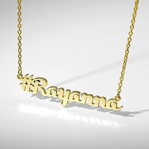 Hashtag Name Necklace Gold Plated Silver