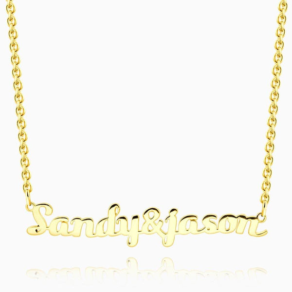 Couple Name Necklace Gold Plated Silver