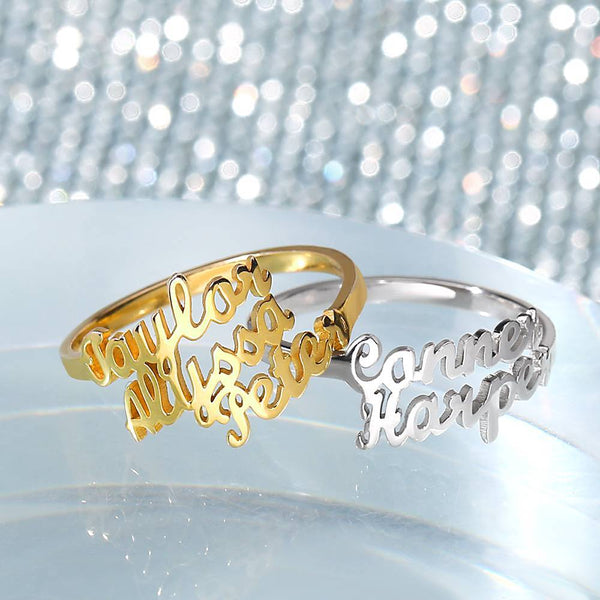 Three Name Ring 14K Gold Plated Silver For Her
