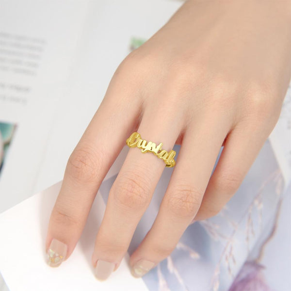 Name Rings for Women Silver 14K Gold Plated For Her