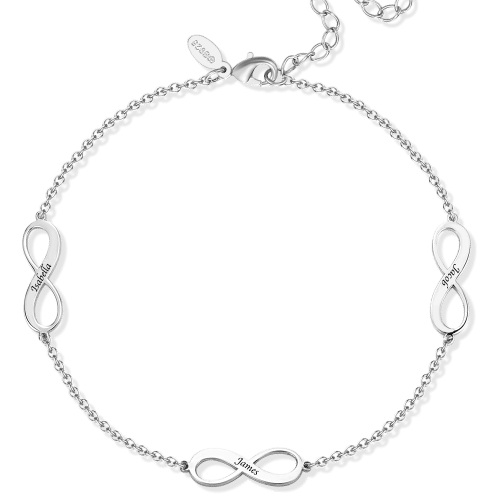 Custom Engraved Infinity Name Anklet Silver