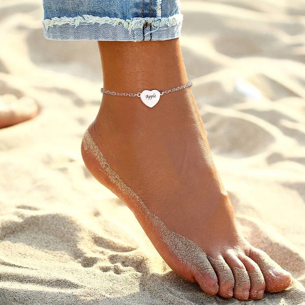 Custom Engraved Heart Anklet Silver