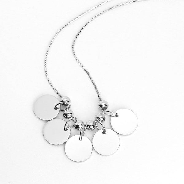 Engraved Initial Necklace Silver