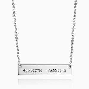 Silver Engraved Coordinate Bar Necklace