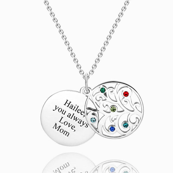 Filigree Family Tree Birthstone With Engraving Necklace Silver