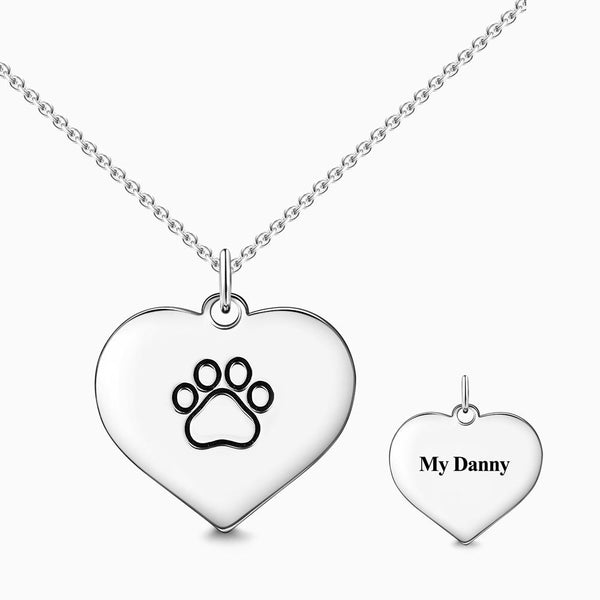 Engraved Paw Print Necklace Silver