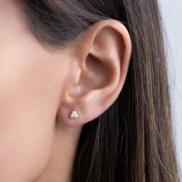 Mini Trio Bezel Stud Earring 14K