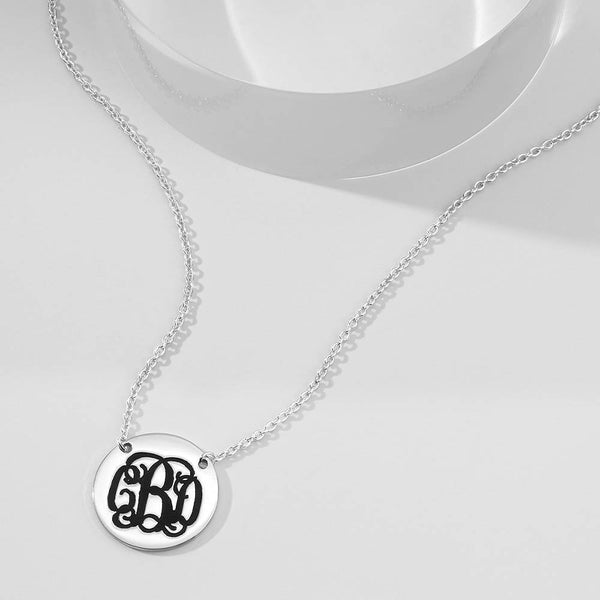 Engraved Monogram Necklace Silver
