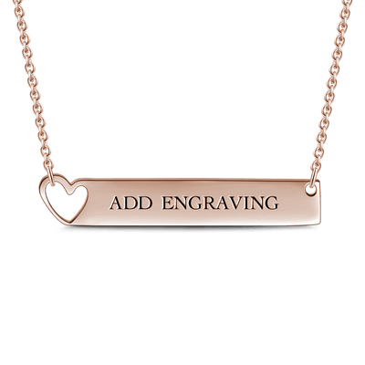 Engravable Heart Bar Necklace Rose Gold -  Love Name Necklace