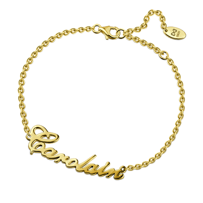 Carrie Style 14K Gold Plated Name Bracelet For Her -  Love Name Necklace