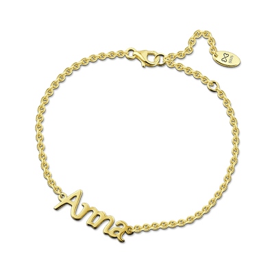 Name Bracelet 14K Gold Plated -  Love Name Necklace